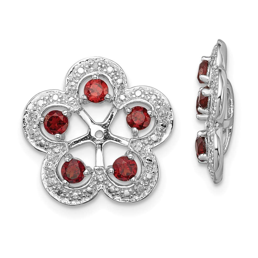 ICE CARATS 925 Sterling Silver Diamond Red Garnet Earrings Jacket Birthstone January Fine Jewelry Ideal Gifts For Women Gift Set From Heart by ICE CARATS (Image #1)