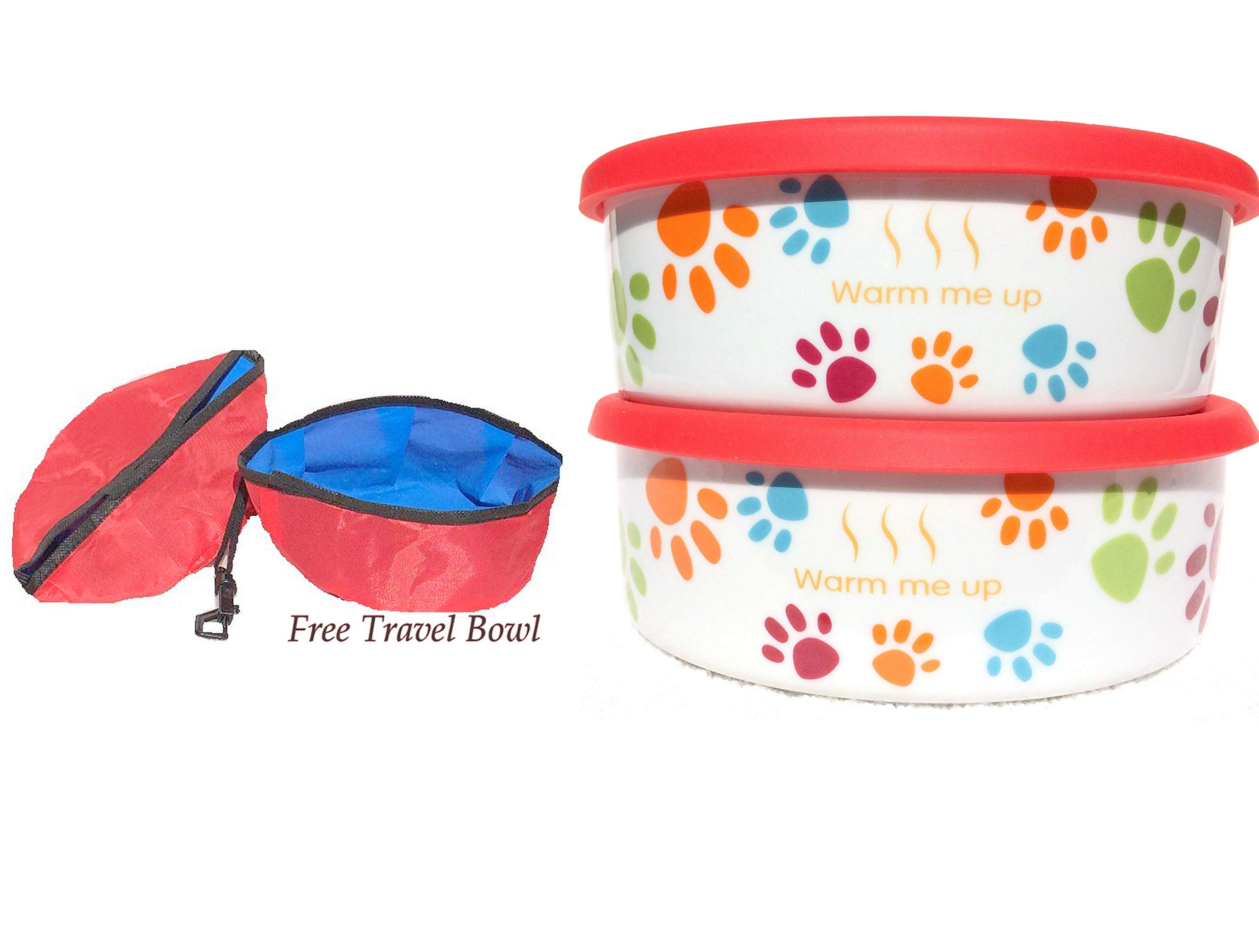 2 Dog/ Cat Bowls with Lid plus a Free Pet Travel Bowl. This Pet Dish Set is FDA approved porcelain material+ airtight storage lid plus collapsible Pet Travel Bowl for dog cat food or water by Quality Line (Image #4)