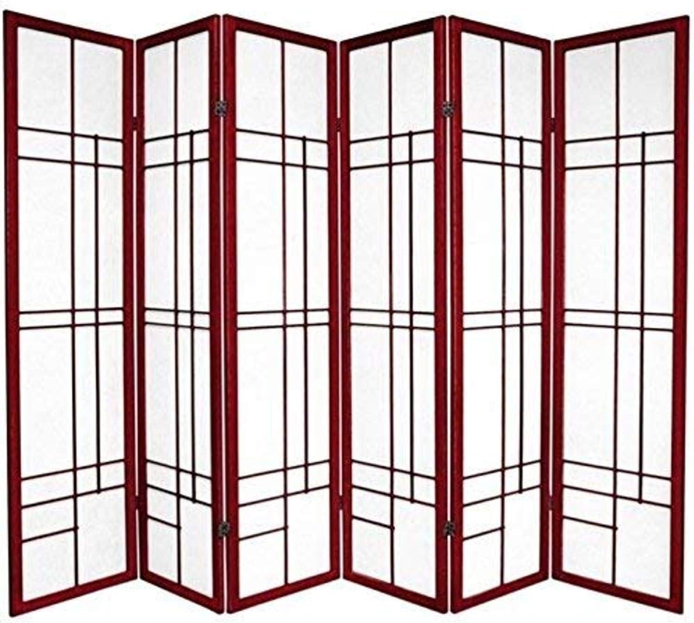 Ultra-Cheap Deals Oriental Furniture 6 ft. Tall - Screen Rosewood Shoji Free shipping Eudes