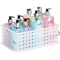iDesign Storage Organizer Basket, with Handle for Bathroom, Health and Beauty Products - Medium, Clear