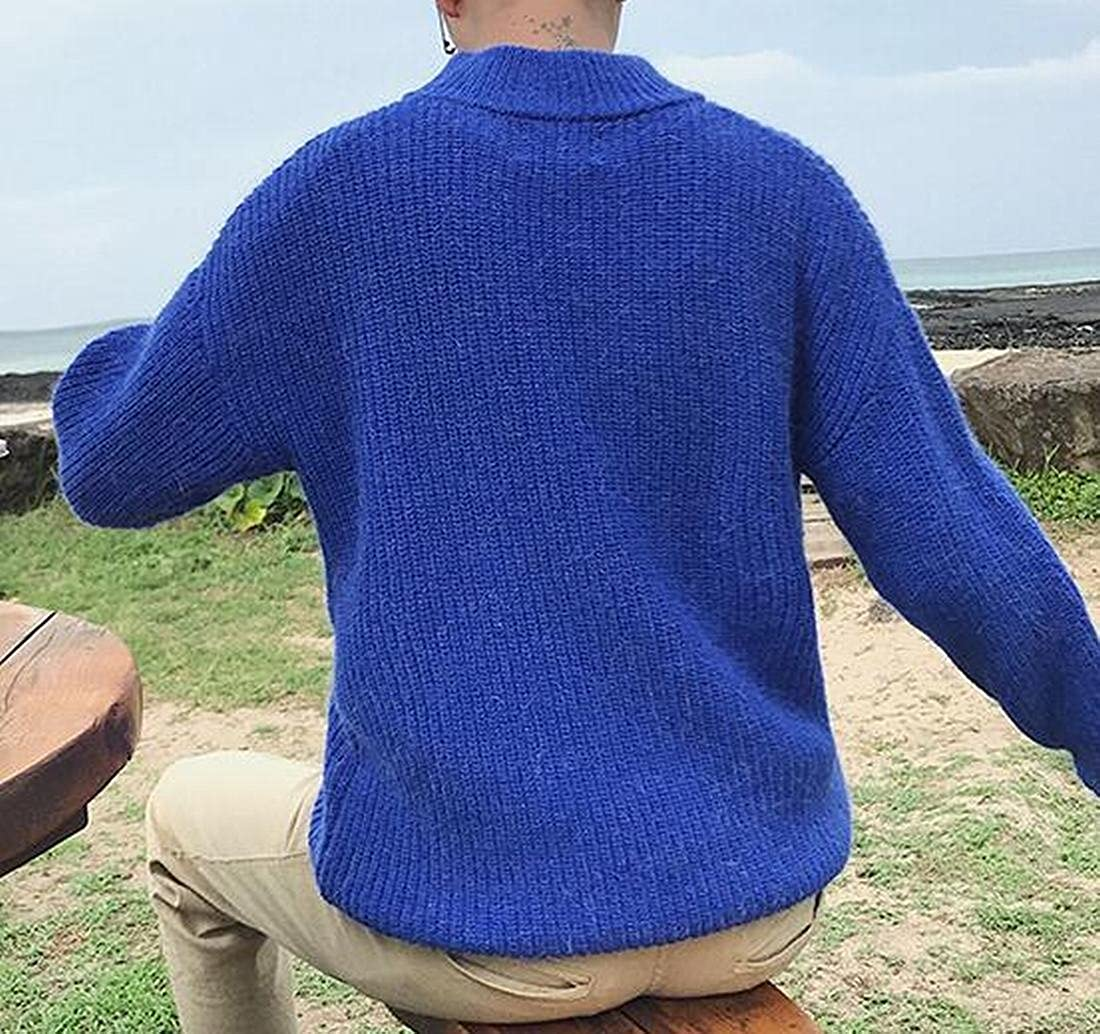 WAYA Mens Round Neck Casual Loose Thickened Knitted Jumper Sweater Pullover