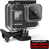 TASLAR Waterproof Case Cover Underwater Diving Protective Shell Housing with Bracket Accessories Quick Release Mount and Thumbscrew Compatible with Gopro Hero 8 Black Action Camera