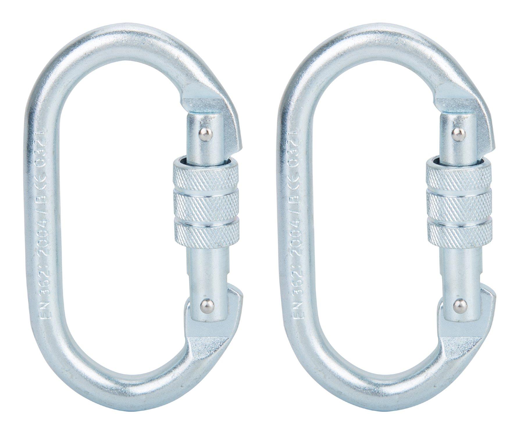 Faswin 2 Pack O-Shaped Rocklock Climbing Carabiner - Screwgate Carabiner For Climbing Hiking Yoga Hammock and Exploring Rappelling (25KN=5600 lb)