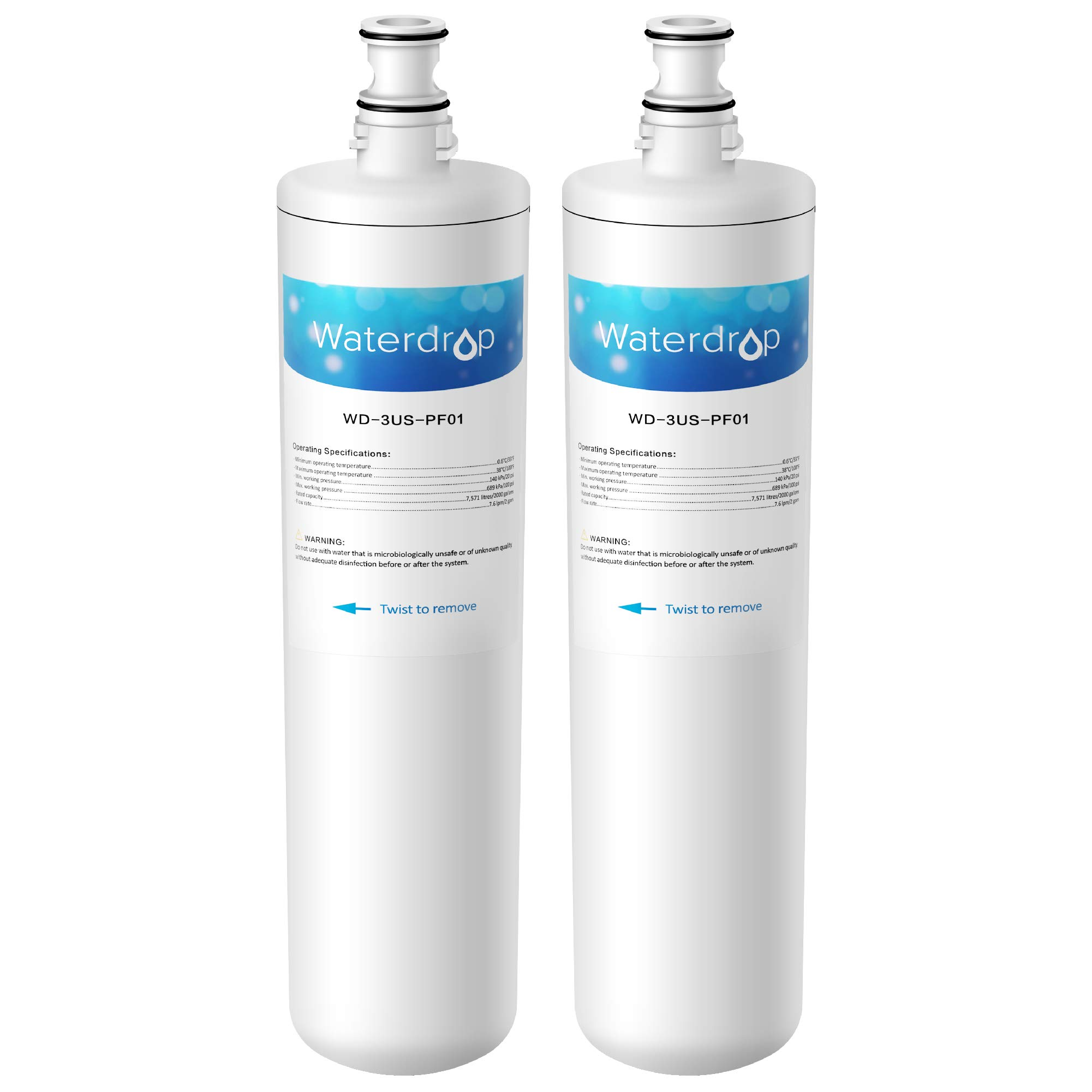 Waterdrop Undersink Water Filter, Compatible Filtrete Advanced 3US-PF01, 3US-MAX-F01H, 3US-PF01H, Manitowoc K-00337, K-00338, K00337, K00338, Delta RP78702, Pack of 2 by Waterdrop
