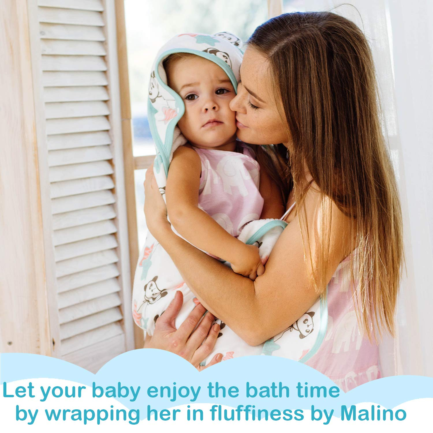 Unisex 35x35-Inch for Newborns Infants Toddlers Malino Organic Bamboo Muslin Premium Baby Hooded Bath Towel Double Sided Perfect Baby Shower Set Highly Absorbent Breathable and Hypoallergenic
