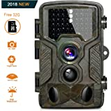 Camera de chasse, caméra de chasse, BestoU 16mp 1080p HD Nocturne infrarouge caméra chasse 49 LED Caméra IP56 étanche Livré avec une carte mémoire Micro SD de 32 Go