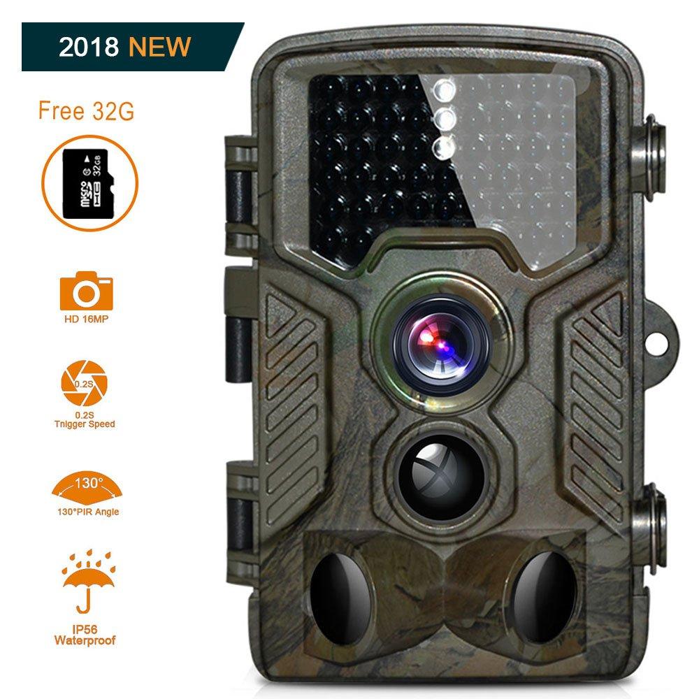 BestoU Wildkamera mit bewegungsmelder 16MP 1080P, Jagdkamera 120°Breite Vision Infrarote 20m Nachtsicht 2.4 LCD Outdoor Überwachungskamera mit 46 Low Glow Black LEDs Trail Camera 16
