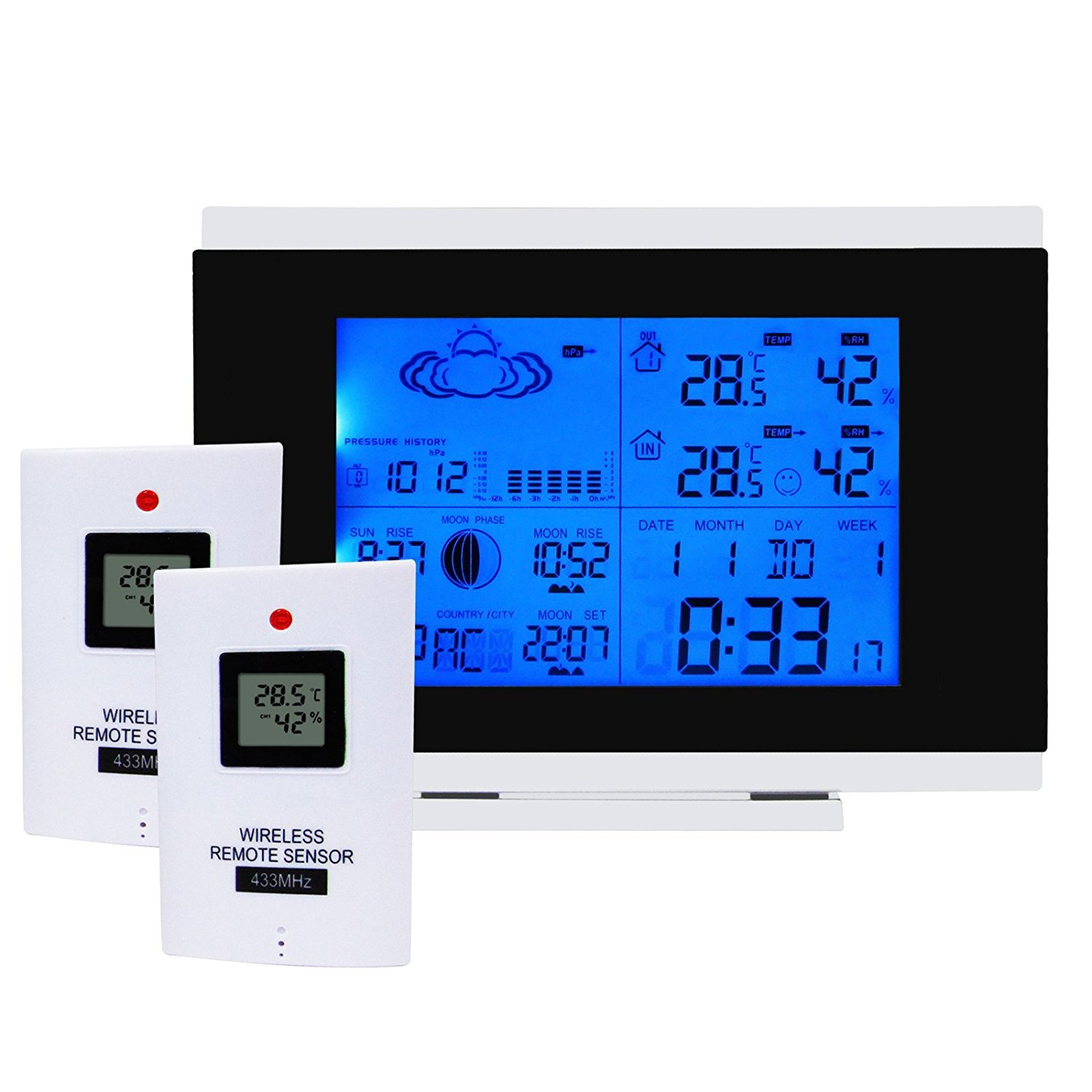 Wireless Weather Station + 2 wireless Remote Sensor Monitoring Clocks Temperature Outdoors-Indoors Humidity with Back-Light 12/24 hour format