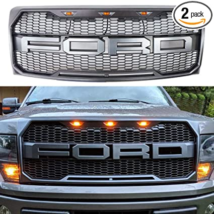 Amazon Com For 2009 2014 Ford F 150 Raptor Type Grill Upper Gray W