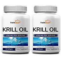 Twinbest Antarctic Krill Oil Softgels, 2-Pack, 1250mg Per Serving, 180 Softgels Supply, Rich in Omega 3 Fatty Acids, EPA, DHA, Phospholids and Astaxanthin, Non GMO