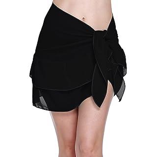 e2889d36da61f ChinFun Women s Beach Cover up Short Sarong Dress Pareo Ruffle Swim Skirts  Bathing Suit Bikini Chic