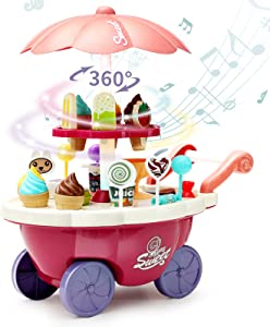 Deejoy Ice Cream Toy Cart for Kids, Educational Ice-Cream Trolley Truck with 36 PCS Accessories, Music, Lighting and Rotating Display, Pretend Play Food Selling Car for Toddlers,3,4,5,6 Year Old Girls