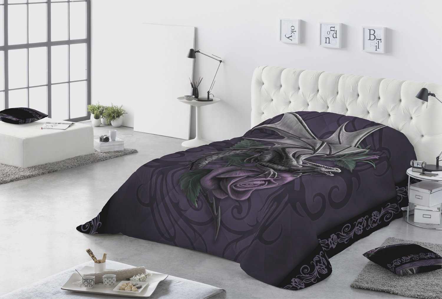 DRAGON BEAUTY - Kingsize Quilted Bedspread Pillowcase Set with artwork by Anne Stokes