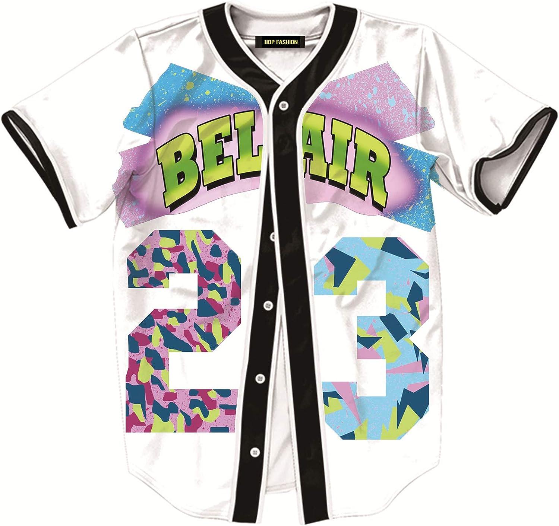 HOP FASHION Unisex Baseball Jersey Short Sleeve 3D Print Tees