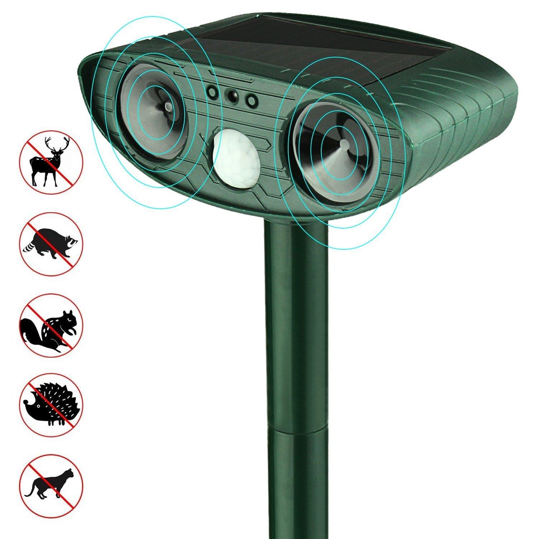 Hltd Solar Ultrasonic Dog Cat Repeller Outdoor Battery Operated PIR Cat,Fox,mouse,Pest Repellent Deterrent Scarer Moti
