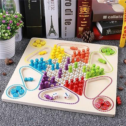 jieGREAT Kinder Lernspielzeug Puzzle Premium Flying Schach Brettspiel & Chinesische Entwürfe 2 in 1 Natural Wooden Board Flying,Baby Spielzeug ab 3 Jahr