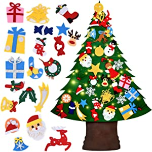 Felt Christmas Tree Set with 35 Pcs Detachable Ornaments Wall Hanging Decor&16ft 50LED String Light, DIY Wall Christmas Tree for Kids Toddlers Christmas New Year Xmas Gifts Christmas Decorations