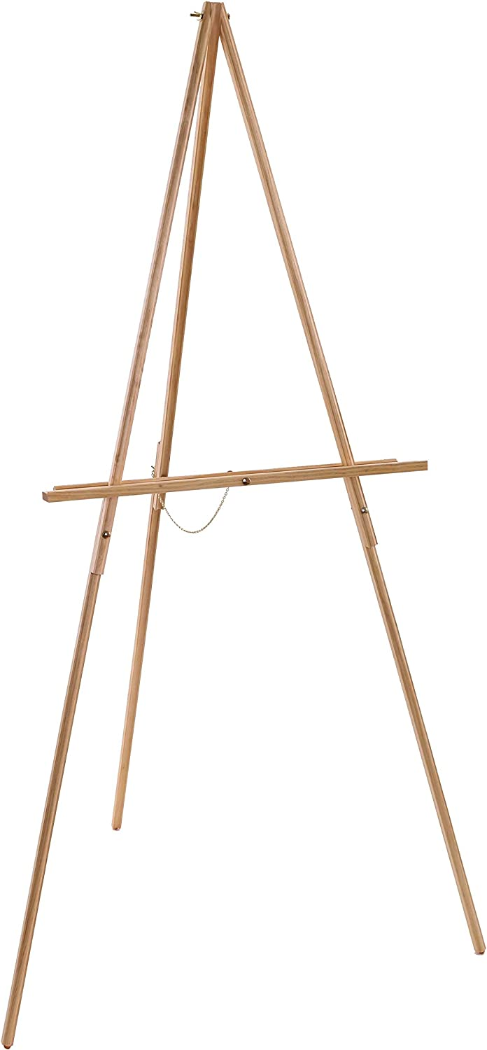 "U.S. Art Supply 64"" High Torrey Wooden A-Frame Tripod Studio Artist Floor Easel - Adjustable Tray Height, Holds 40"" Canvas - Wood Display Holder Stand for Paintings, Drawings, Framed Photos, Signs"