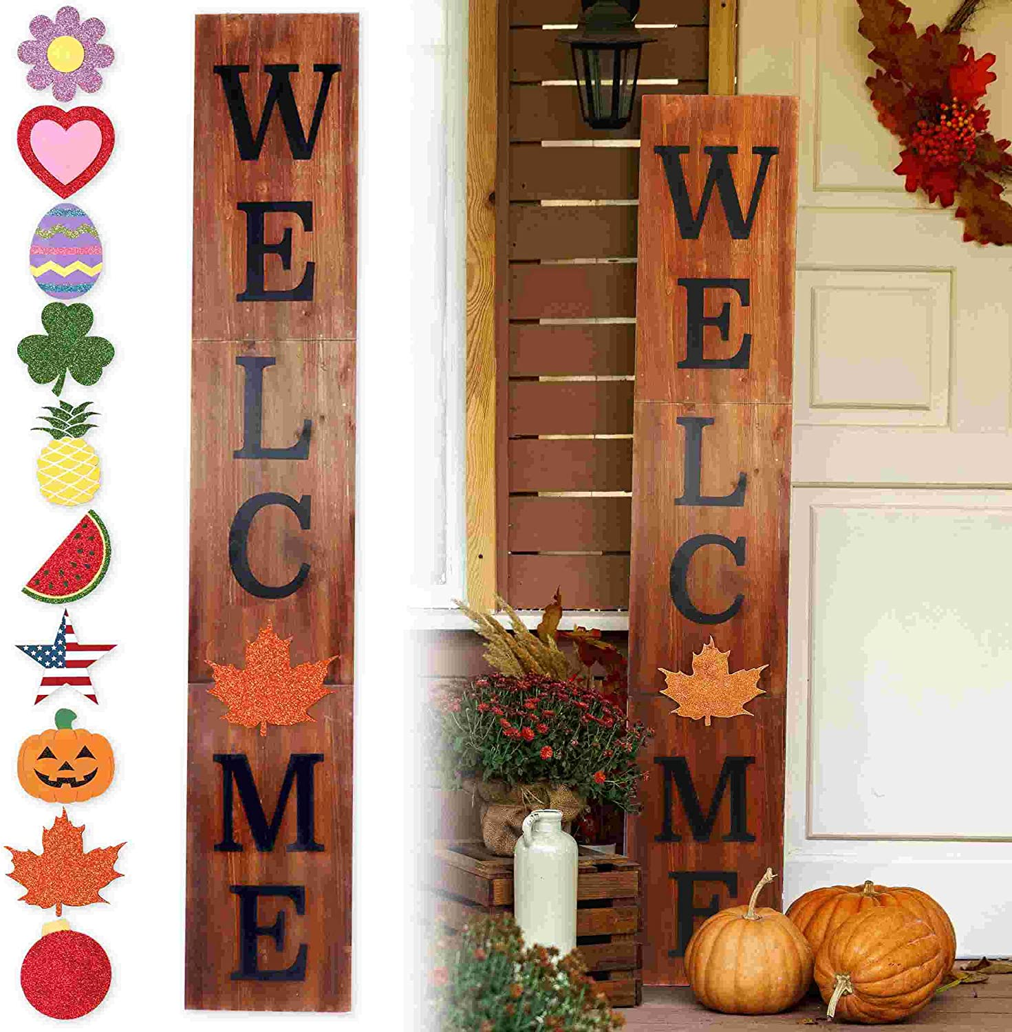 Outdoor Welcome Sign for Front Porch Decor, InterchangeableSeasonal Icons Vertical Welcome Sign, Modern Farmhouse Decor for The Home, Wooden Welcome Sign Rustic Brown (11.75