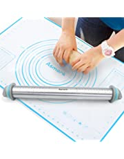 Asmork Rolling Pin,Silicone Baking Mat,Adjustable Stainless Steel Rolling Pins Dough Roller with 4 Removable Thickness Rings for Baking Dough, Pizza, Pie, Pastries, Pasta and Cookies (1)