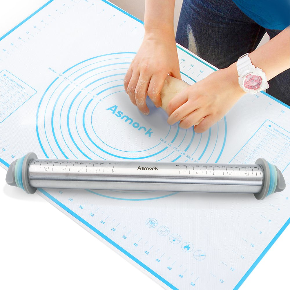 Asmork Rolling Pin,Silicone Baking Mat,Adjustable Stainless Steel Rolling Pins Dough Roller with 4 Removable Thickness Rings for Baking Dough, Pizza, Pie, Pastries, Pasta and Cookies (1) RPS0001