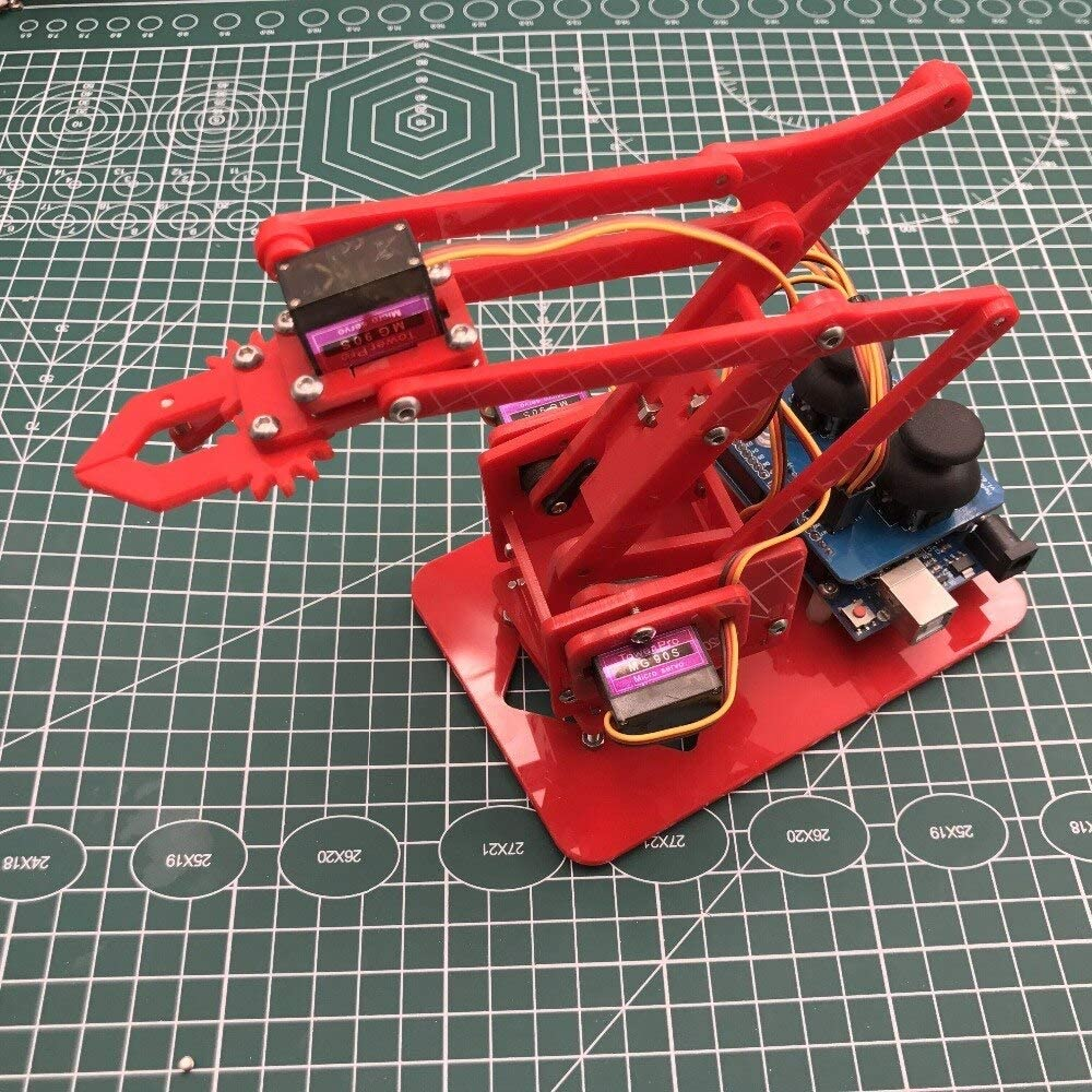 YOUKITTY Mearm Joystick Mini Industrial Robotic Factory Arm Deluxe Kit with Joystick Button Controller 4pcs Servo Red