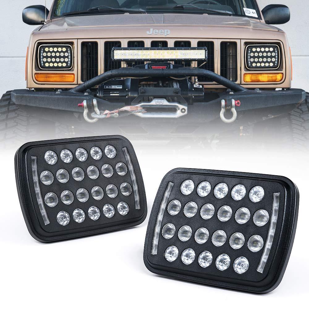Xprite Black 5x7 7X6 LED Headlights Projector, Hi/Low Sealed Beam  Rectangular Headlamp Conversion Kit w/DRL H4 9003 Plug for Jeep Wrangler YJ  Cherokee