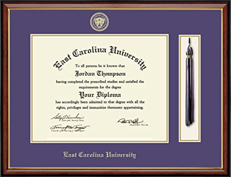 east carolina university tassel edition diploma frame features solid hardwood southport gold - Diploma Frame Size