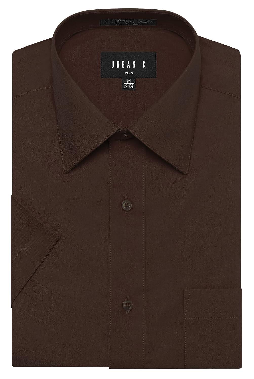 URBAN K メンズMクラシック フィット ソリッドフォーマル襟 半袖ドレスシャツ レギュラー & 大きいサイズ B06WVFC9GF XL|Ubk_brown Ubk_brown XL