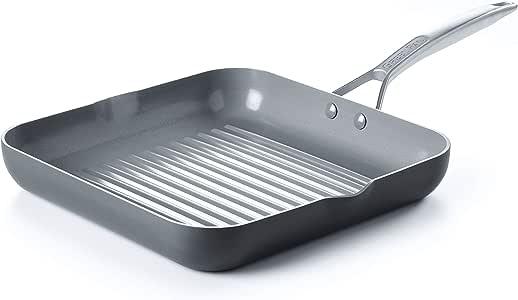 GreenPan Paris 11 Inch Ceramic Non-Stick Square Grill Pan, Gray -