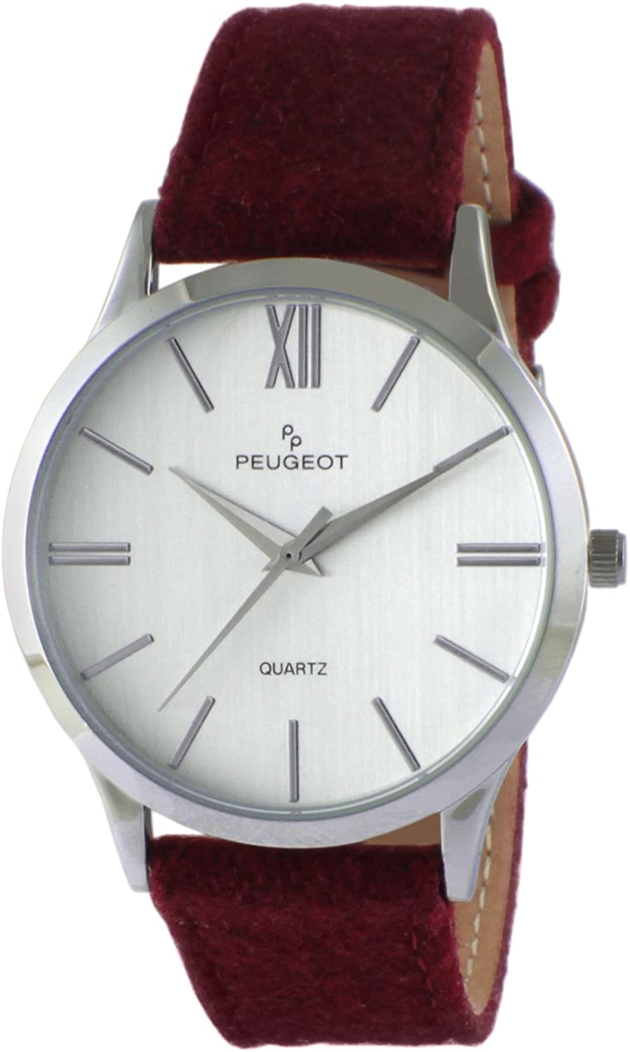 Peugeot Women Contemporary Silver Slim Case Casual Wrist Watch w Matching Canvas Wool Strap