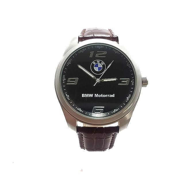 BMW Motorrad Cuarzo Redondo, Reloj para Hombre, Reloj Deportivo de Cuero marrón + batería de Repuesto Gratis + Bolsa: Amazon.es: Relojes