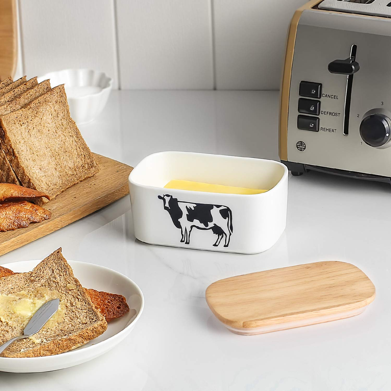 DOWAN Porcelain Butter Dish - Airtight Butter Keeper With Wooden Lid To Keep Butter Fresh - Large Butter Container Holds Up to 2 Sticks of Butter by DOWAN (Image #3)