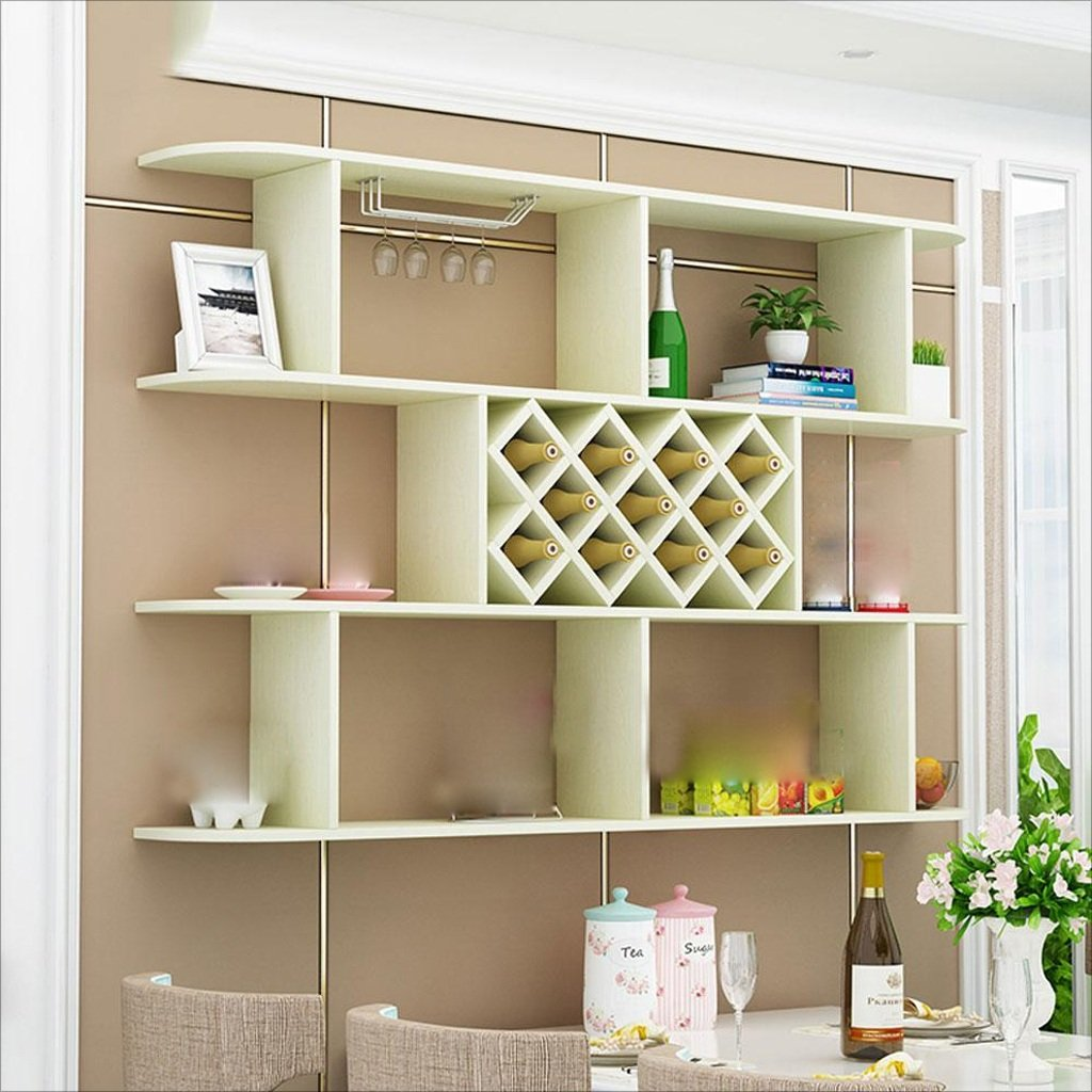 GWM Shelf Modern Restaurant Wine Rack Wine Cabinet Solid Wood Partition Free Punch Wall Hanging Racks Kitchen Closet Wall Cabinets Living Room Simple Wine Rack (Color : White Maple)
