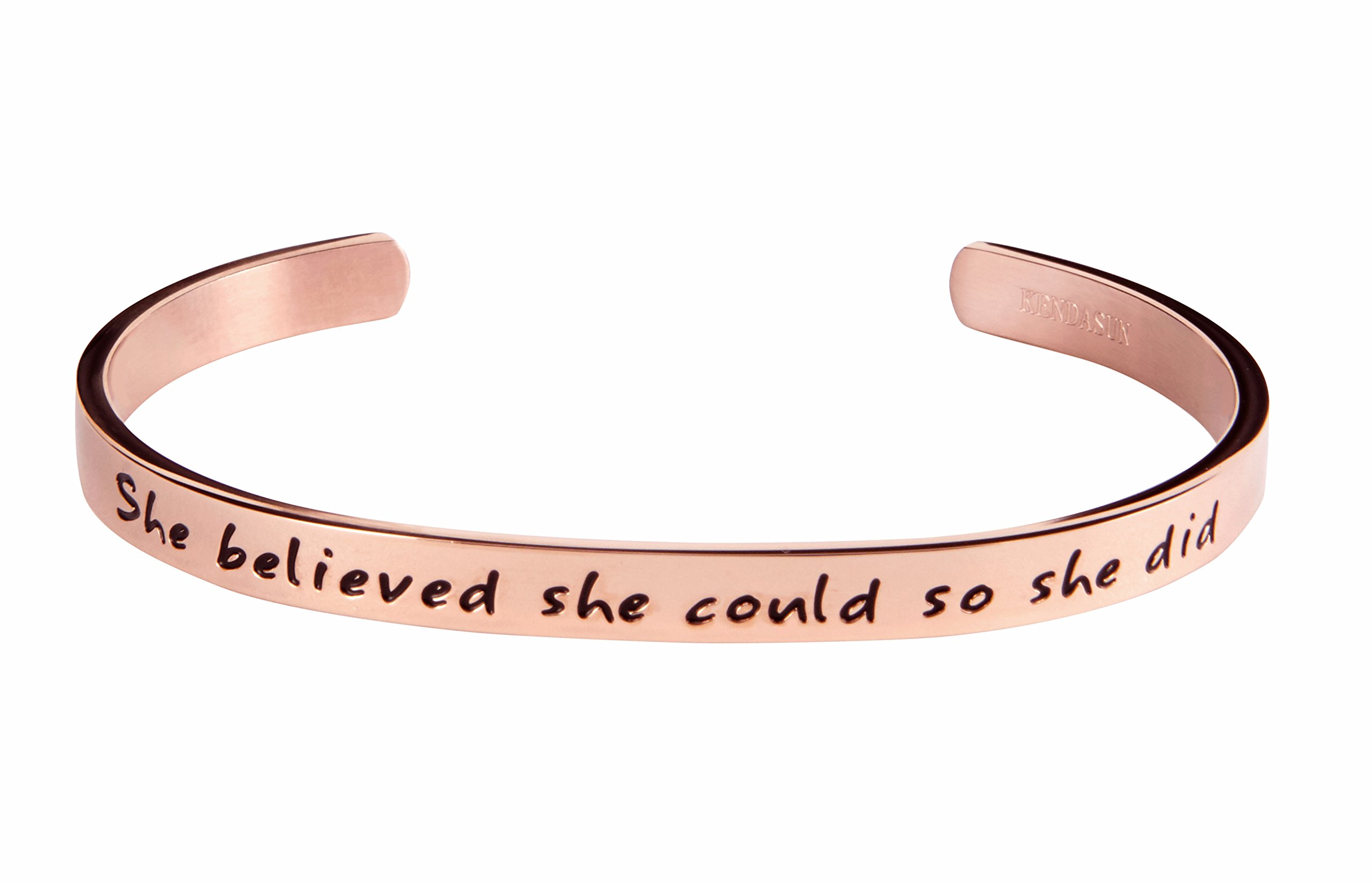 Kendasun Jewelry She believe she could so she did Inspirational Bracelet Cuff Bangle (Pink RoseGold (standard size))