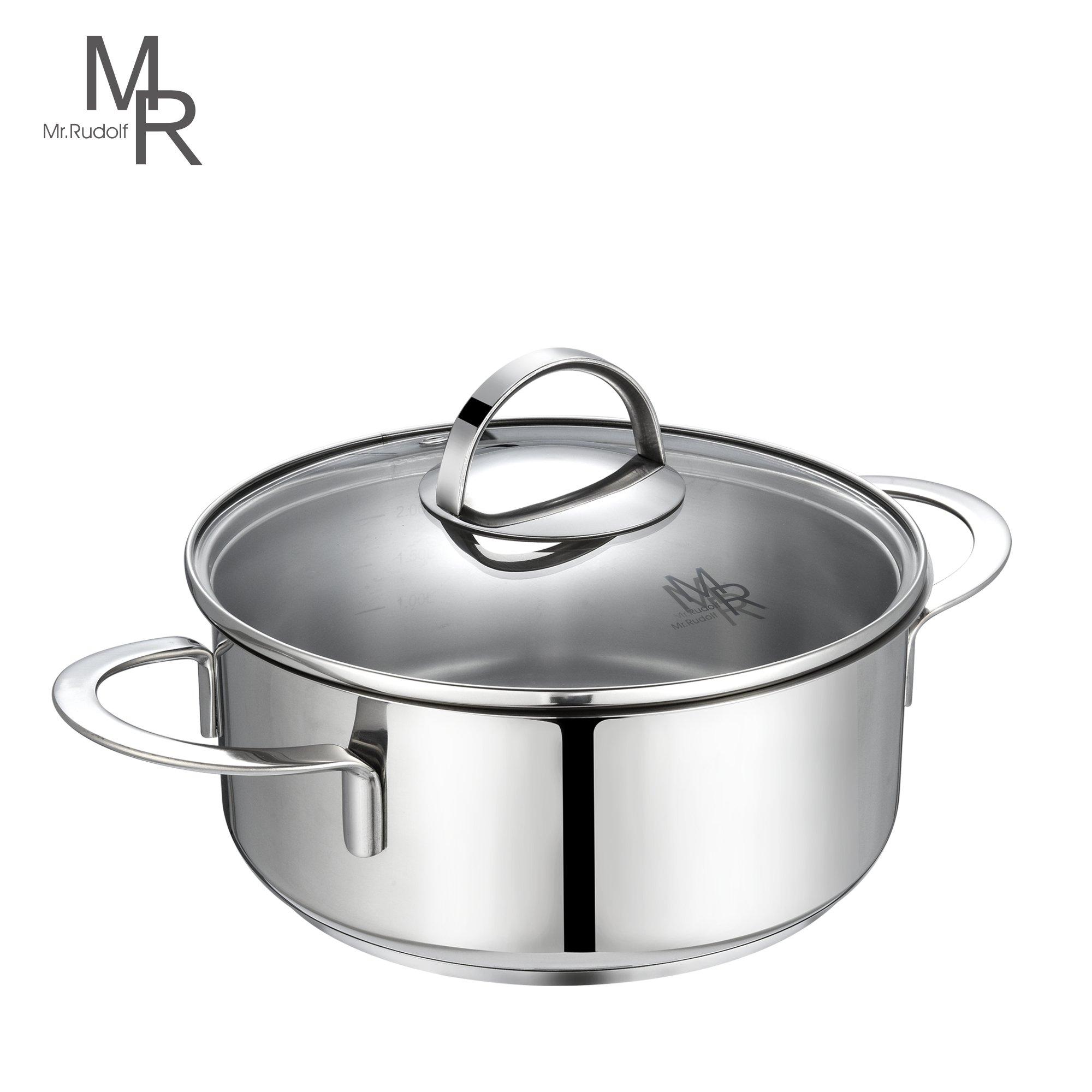 Mr. Rudolf 2 Quart Saucepan Dutch Oven 18/10 Stainless Steel 2 Handles Saucepan with Glass Lid Dishwasher Safe PFOA Free Casserole Sauce Pot 20cm 2 Liter LN-2085