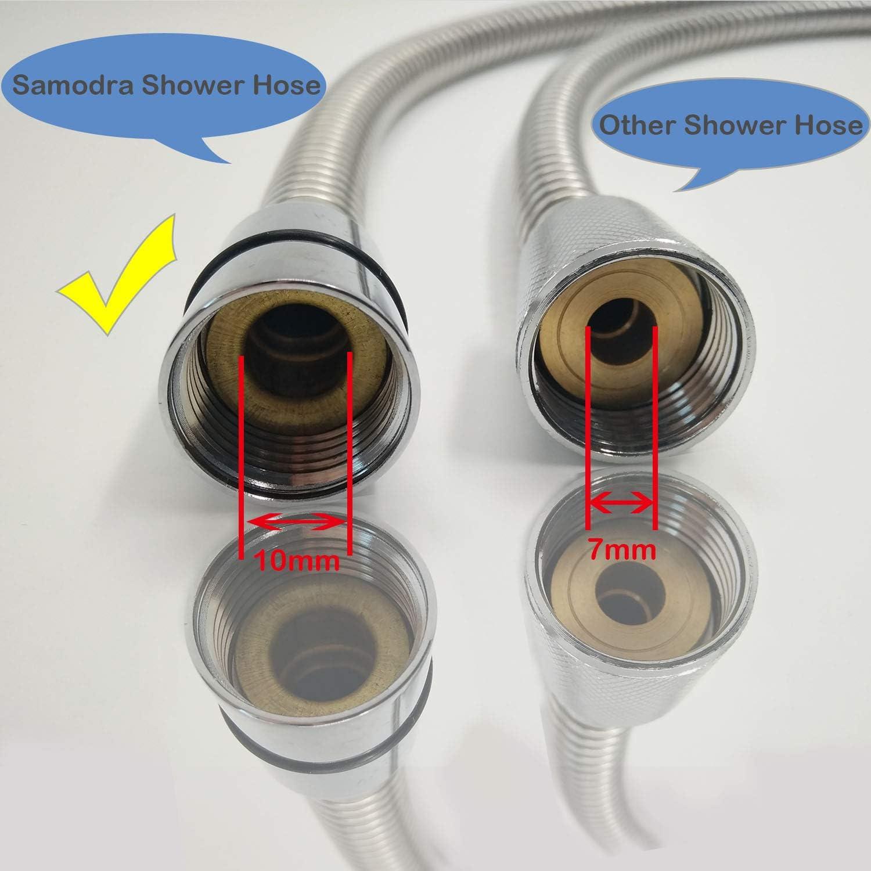 Manguera de ducha 1,25 m, 12 mm, acero inoxidable, a prueba de fugas y antitorceduras, cromada Samodra