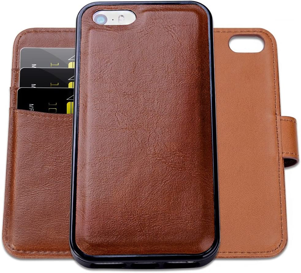 SHANSHUI Wallet Case Compatible with iPhone 5, 5S, SE (2016), Magnetic Detachable 2-in-1 PU Leather Case with 3 RFID Card Holders 1 Cash Pocket with Back Cover - Brown (Not Fit iPhone se 2020)