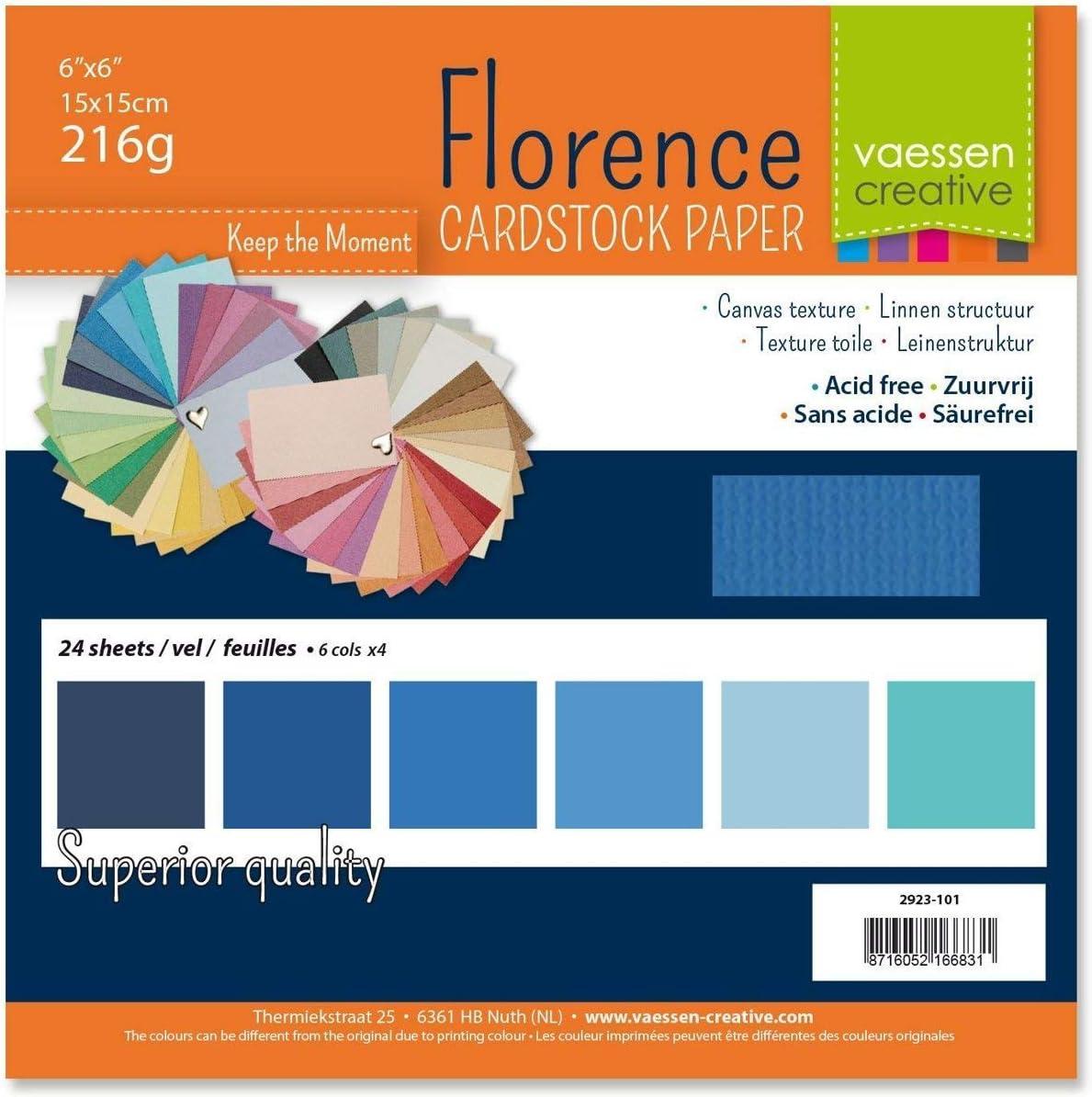 Multi-colore carta 6 x 6 inch Vaessen Creative 2923-199 Cartoncino effetto tela Firenze-Album 216 g 15 x 15 cm