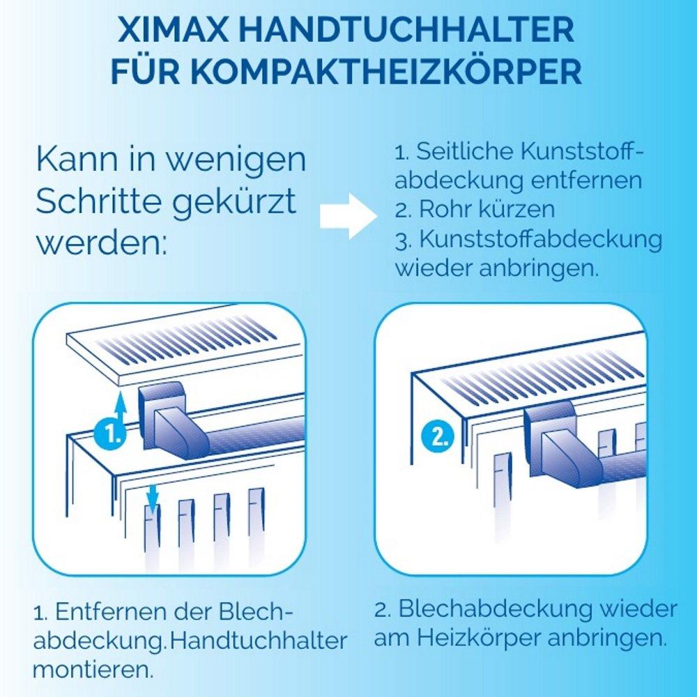 XIMAX Heizkörperzubehör Handtuchhalter für Kompaktheizkörper Weiss 740 mm