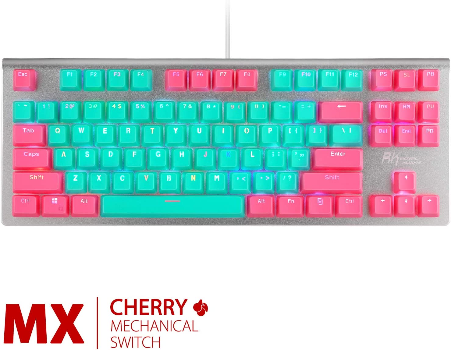 RK87 Pro RGB Mechanical Keyboard, Wired/Wireless Bluetooth 87 Keys Compact Gaming/Office Keyboard for iOS Android Windows with 85% Double Shot PBT Keycaps TKL Keyboard (Cherry MX Blue, Miami)