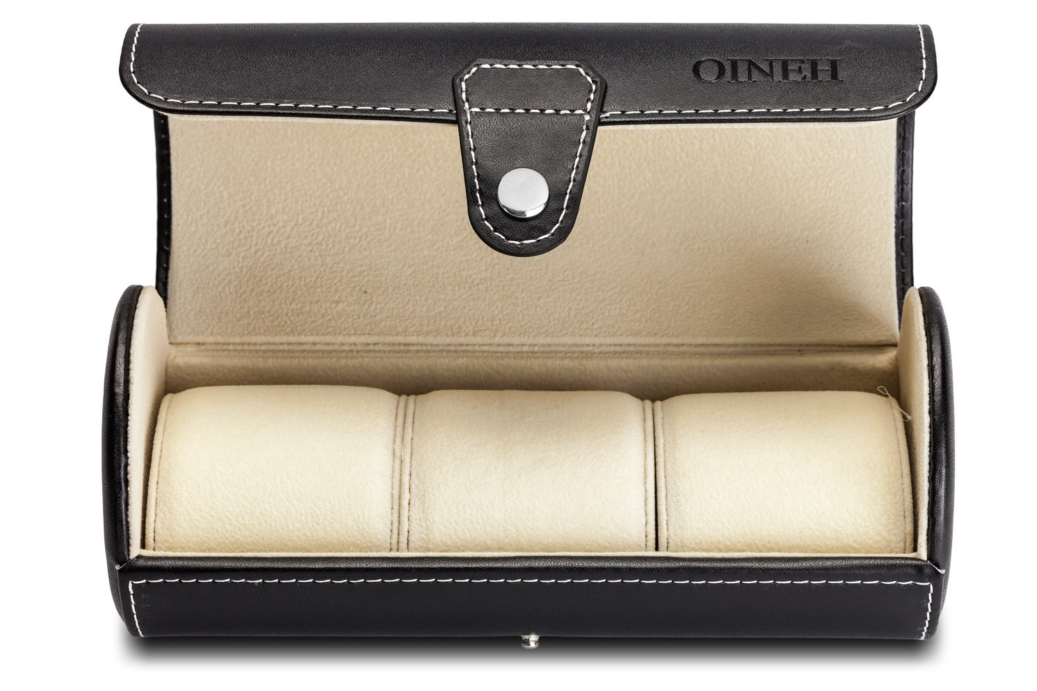 Leatherette Roll Traveler's Watch Storage Organizer for 3 Watch and/or Bracelets (Black) by Oineh (Image #1)