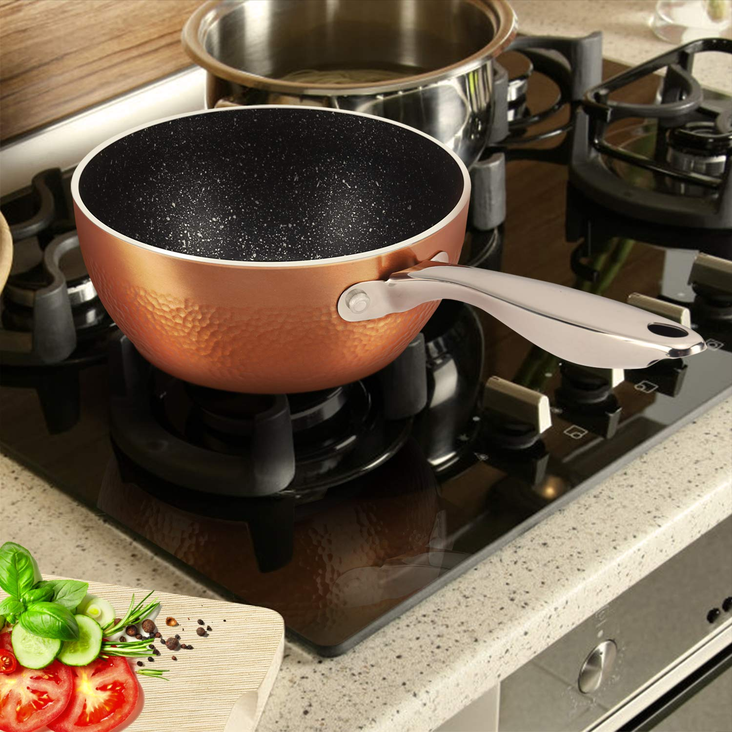 MICHELANGELO 1.5 Quart Sauce Pan with Lid, Small Copper Saucepan with Nonstick Stone Interior Coating & Hammering Exterior by MICHELANGELO (Image #5)