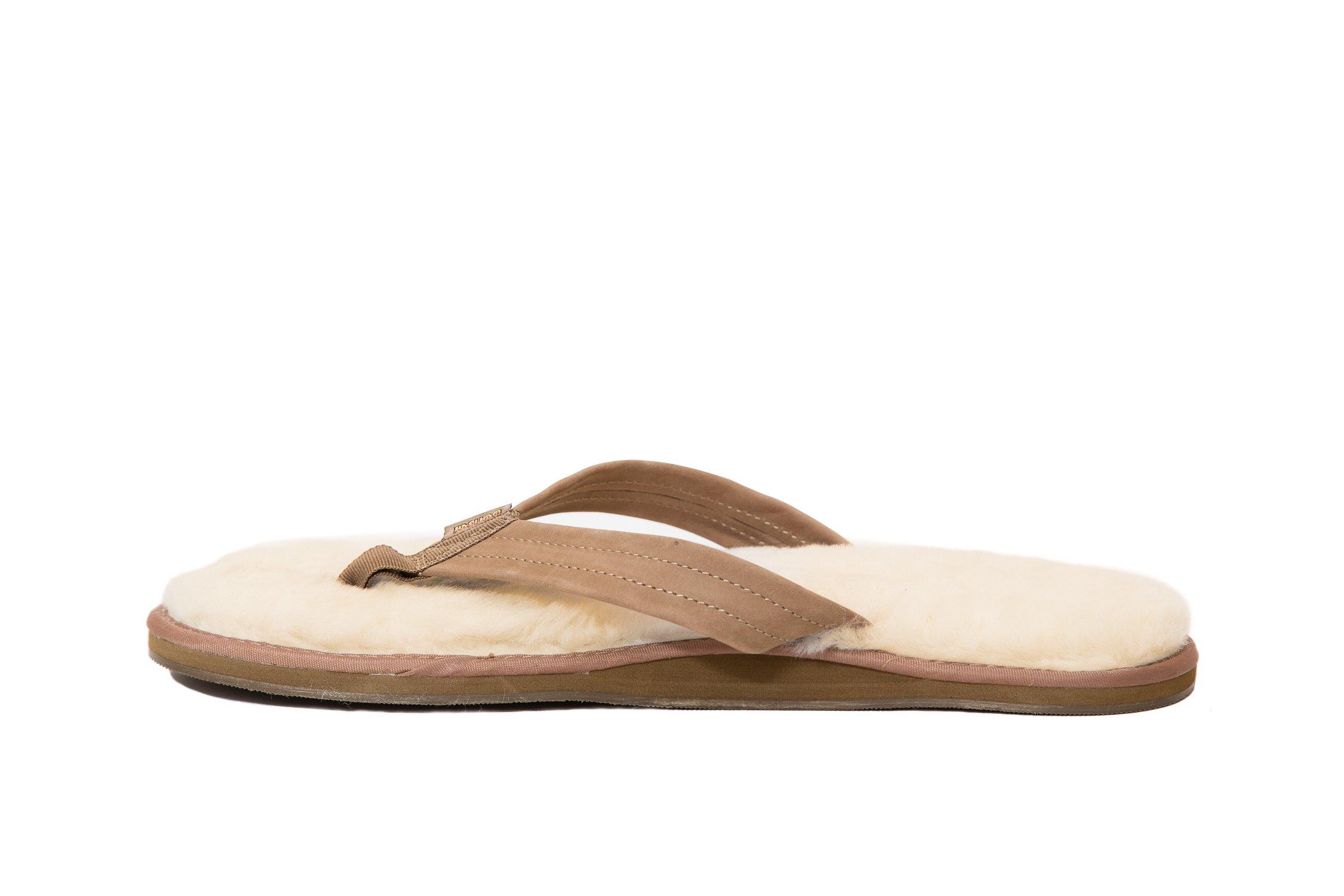 Bonsai Men's Sheepskin Sandal Flip Flops, Brown, 12 US by Bonsai Sandals (Image #3)