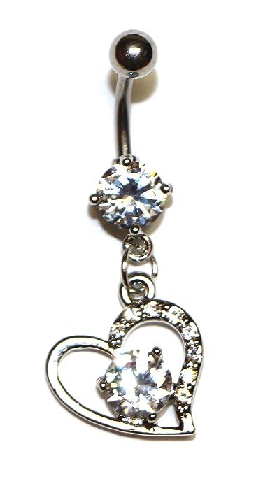 59a40d92f4bd Acero quirúrgico joyas moda Dangle Heart w/A Big Diamond en el ...