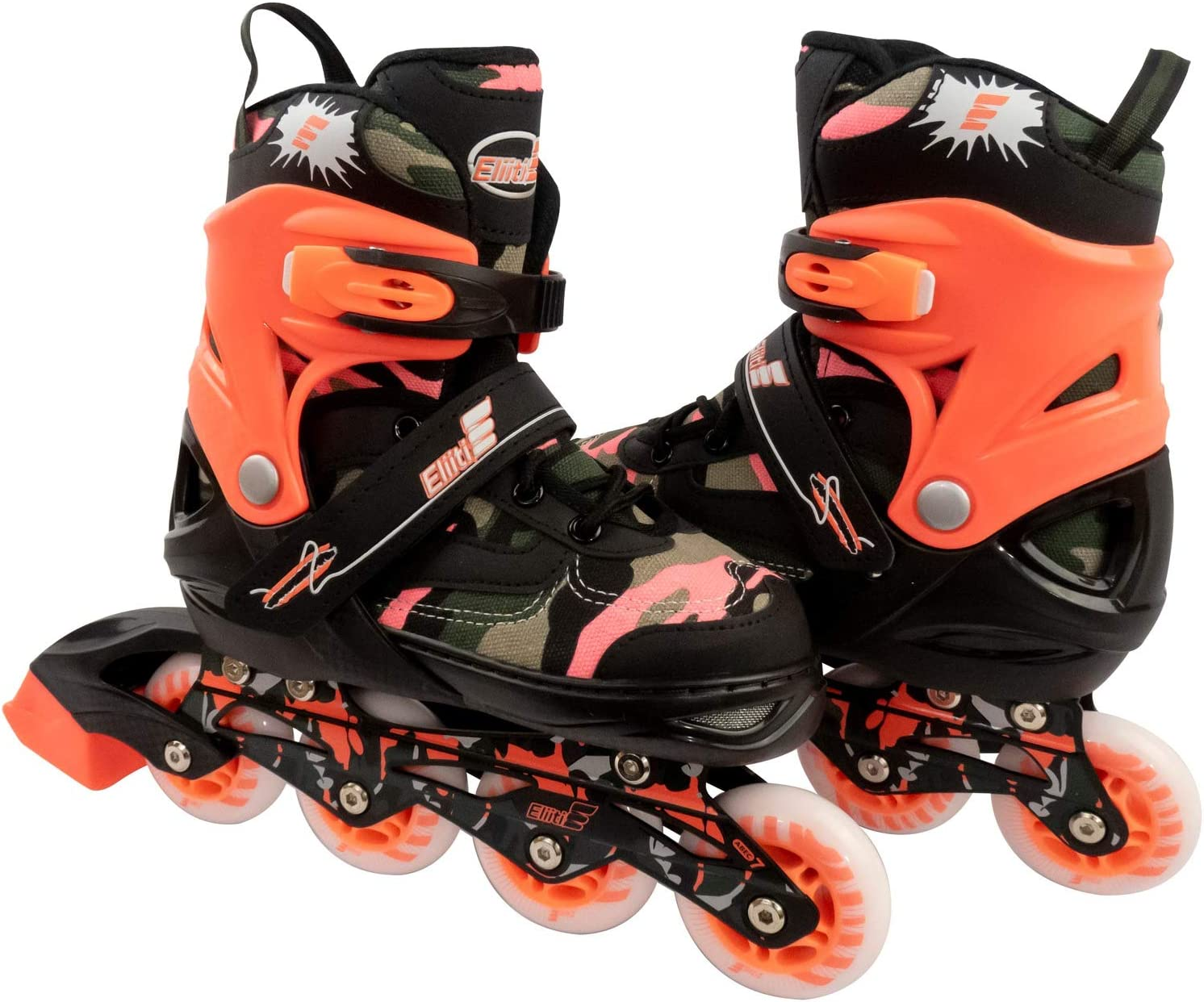 ELIITI Kids Inline Skates for Girls Boys Adjustable Size 13J to 9