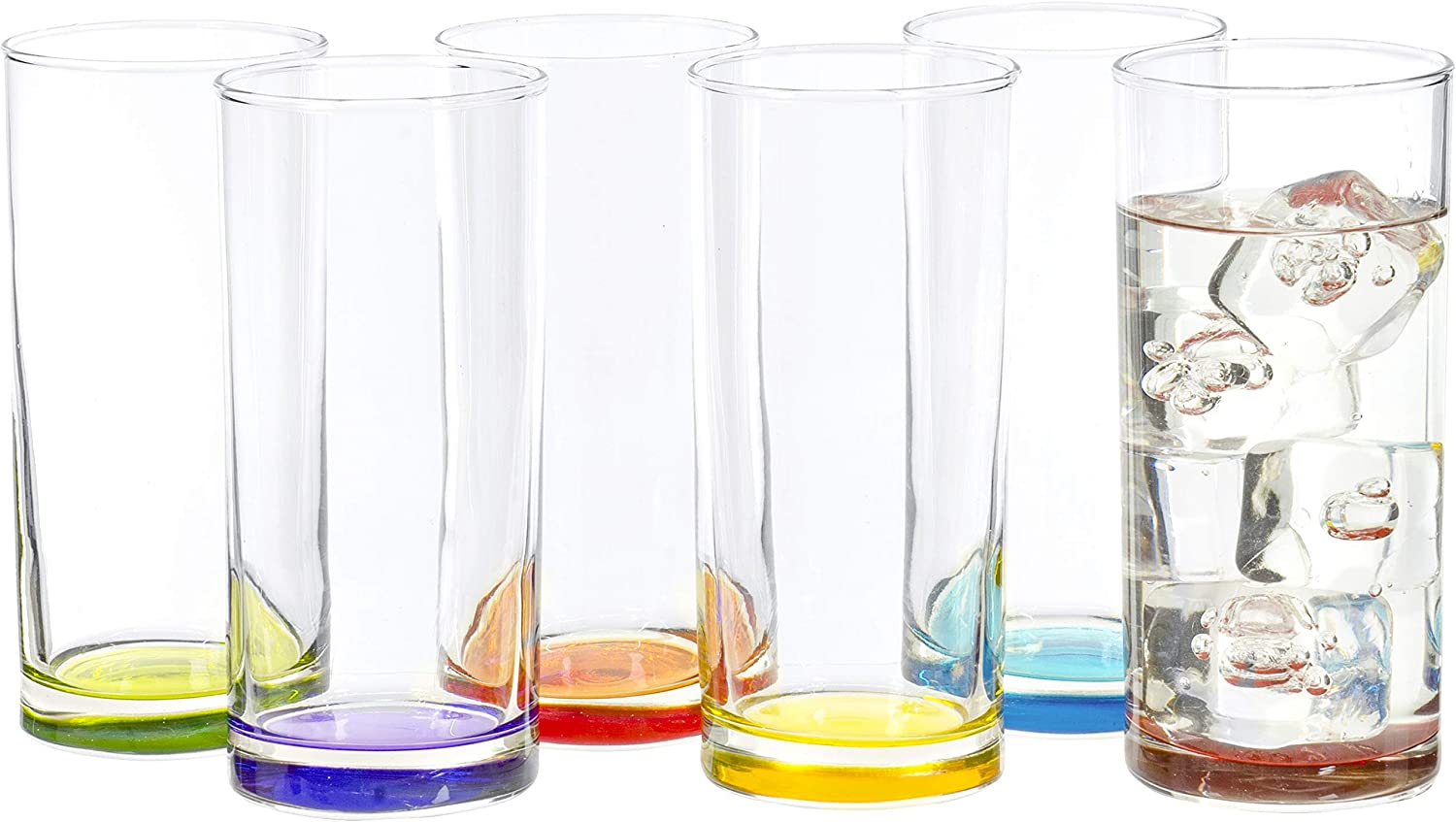 Highball Tumbler Clear Multi Colored Base Drinking Glass for Water, Juice, Beer, Whiskey, and Cocktails, 9.25 Ounce - Set of 6