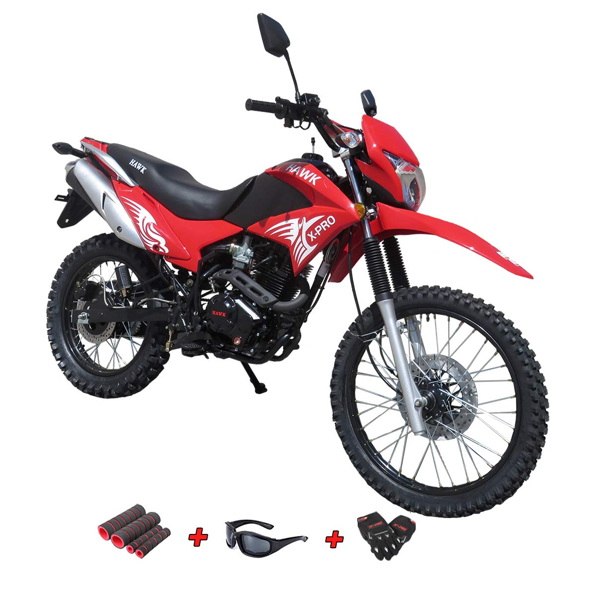 Black X-Pro 250 Dirt Bike Motorcycle Bike Hawk 250 Dirt Bike Enduro Street Bike Motorcycle Bike with Gloves Sunglasses and Handgrip
