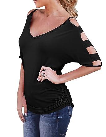 ca2d192a66e5b1 Blooming Jelly Damen V-Ausschnitt Cut-Out T-Shirts Halbarm Off-Shoulder  T-Shirt mit Rüschen besetzt Taille Tops Bluse: Amazon.de: Bekleidung