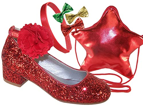 05a41d24a58 Girls Children red Glitter Low Heel Party Occasion Shoes red Bag and  Matching Hair Accessories Gift